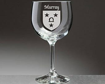 Murray Irish Coat of Arms Red Wine Glasses - Set of 4 (Sand Etched)