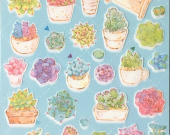 Succulent sticker,Cactus Plant sticker,Craft Supply,Planner sticker, stationery,