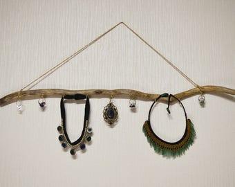 Bohemian Wooden Jewelry Holder, Jewelry Organizer, Wooden Jewelry Tree, Jewelry Stand, Natural Branch Je