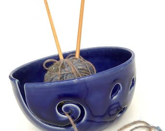 Cobalt Blue Ceramic Wheel Thrown Yarn Bowl - Made To Order