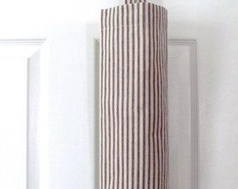 Navy Woven Ticking  Fabric Bag Holder Large Grocery Bag Holder/ Plastic Bag Holder/ Grocery Plastic Bag Dispenser
