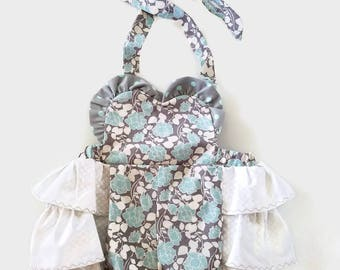 Adorable Infant Jumper Size Small 3 month, Baby, Ruffles, Blue, Grey, Gray, White Floral w/ Dots, Sun suit, Summer Outfit