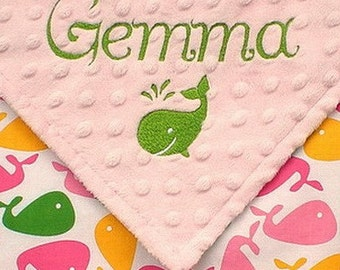 Personalized Baby Girl Blanket , Baby Girl Whale Blanket , Minky Dot and Whales