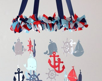 Sailboat Nursery Mobile in Red, Navy, Baby Blue & White- Nautical Anchor Boat Whale Wheels Baby Mobile, Crib Mobile, Baby Shower Gift