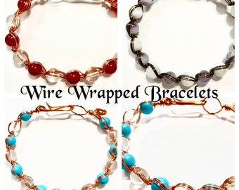 Wire Wrapped Bracelets | Gifts for Her | Beaded Bracelets