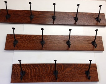 "Family Woodworks Quartersawn White Oak Mission Style Arts & Crafts 30"" Coat Rack With Hooks"