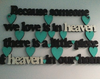 Wooden laser cut because someone we love is in heaven sign