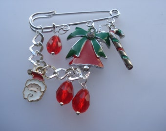 Eye-Catching Silver Plated Pin Brooch, 71mm Jingle Bell, Candy Cane, Glass Teardrop, Red Beaded Enamel Brooch, Glorious Piece!! C626