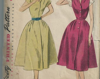 RARE Vintage 1940s 1950s sewing pattern Simplicity 3901 shirt dress size 14