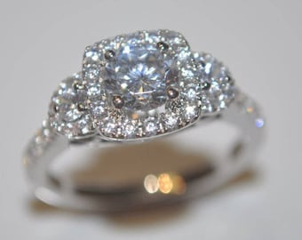 Moissanite & Diamond Engagement Ring in 14K White / Rose / Yellow Gold with 0.70 Carat TW Diamond Accents 6mm to 7mm Round Moissanite