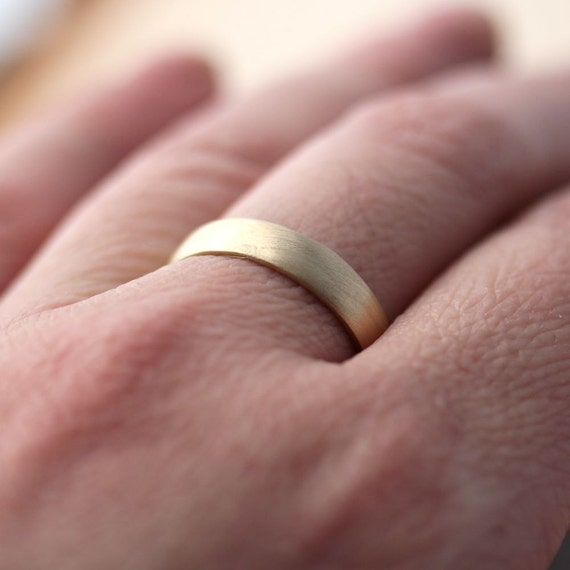Man Gold Wedding Band 45mm Low Dome 10k Recycled Hand Carved
