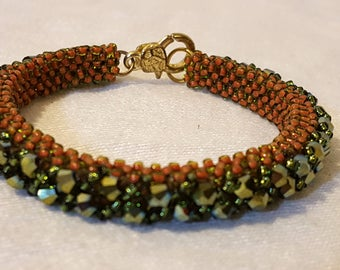 Green Brown Cubic Right Angle Weave Glass Bead Bracelet Bead Stitched