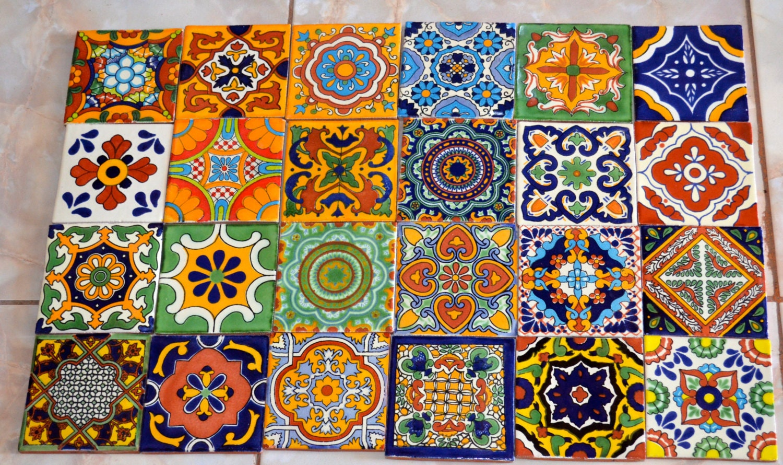 24 azulejos mexicanos pintados a mano 4x4