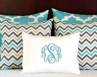 Bedroom Decor - Monogram Pillow - Pillow Shams - Euro Pillows - Personalized Bedding - Pillow Cases - Turquoise Bedding - Aqua Pillows