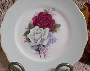 Vintage Side Plate Queen Anne England Bone China Plate - Rose Design
