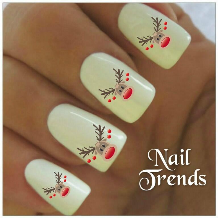 Reindeer nail decal 20 vinyl adhesive decals christmas nail zoom prinsesfo Images