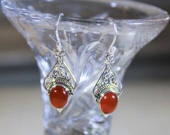 Carnelian earrings, drop earrings, sterling silver earrings, dangle earrings, orange earrings