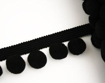 Chocolate black 20 mm, 1 m, PomPoms, tassels lace Ribbon
