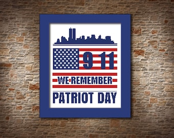 Patriot day CROSS STITCH PATTERN 9 11 memorial gift Remember 9 11 decoration wall art red white blue Twin towers skyline Never Forget 9 11