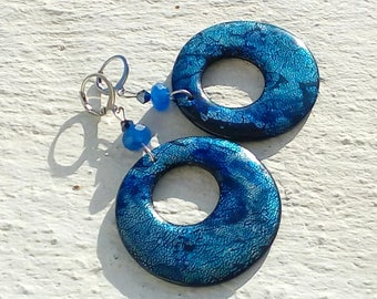 Hoop earrings - iridescent, blue, black and silver