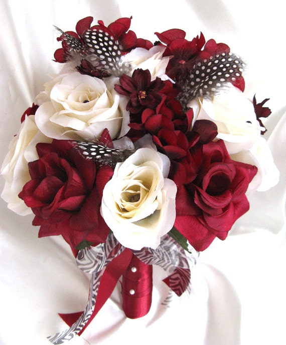 Wedding Bouquet Bridal Silk flowers BURGUNDY CREAM BLACK