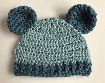 Baby boy blue bear ears hat. baby blue beanie. Bear ear hat.