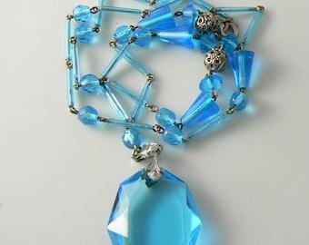 Art Deco Aqua Blue Czech Art Glass Necklace  Unique vintage, antique, costume and estate jewelry.