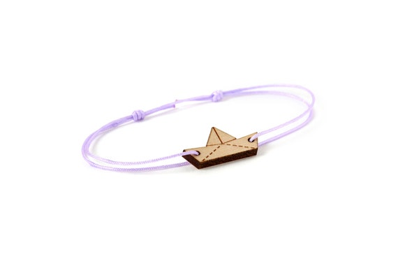 Origami boat bracelet - 25 colors - paper ship bangle - adjustable length - lasercut maple wood - graphic jewelry - unisex - customizable