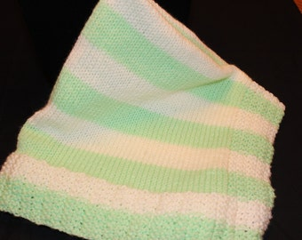 Baby Afghan - Coverlet - Baby Blanket, Hand Knit Baby Afghan, Knit Baby Afghan - Knit Coverlet