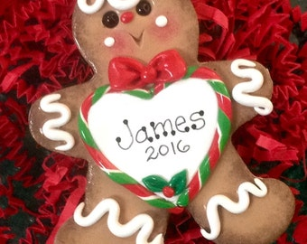 Gingerbread Man with Candy cane heart personalized polymer clay ornament!