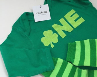 St. Patrick's Day Shamrock First Birthday Outfit Bodysuit and Leg Warmers