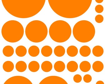 70 Bright Orange Vinyl Polka Dots Bedroom Wall Decals Stickers Teen Kids Baby Nursery Dorm Room Removable Custom Made Easy to Install