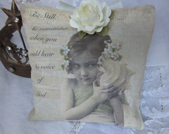 Shabby Romantic Inspirational Lavender Gift Sachet, FREE USA SHIPPING, Vintage Beach Girl, Seashell, Cream Pink Roses, Support Gift