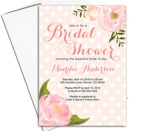 Floral bridal shower invitation printable or printed | unique wedding shower invitations | flowers rustic country - WLP00663