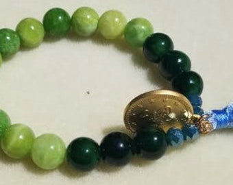 Stretchy Jade Greens Bracelet with Silk Turquoise Tassle