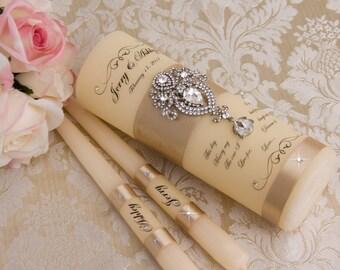 Unity Candle Set, Wedding Unity Candle Set Personalized Ceremony Crystal Unity Candles Set, Champagne Wedding Candle Set, Ceremony Candles