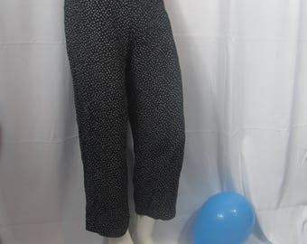 Vintage Womens 80s Black and White High Waist Wide Leg Baggy Pants / Dress Pants