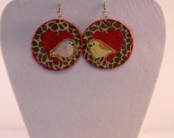 Red heart and giraffe print earrings, love bird earrings, giraffe print jewelry, unique boho jewelry, large funky earrings, statement