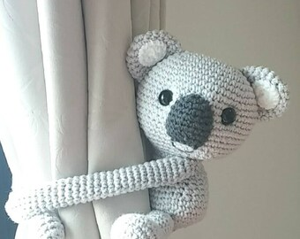 Koala bear curtain tie back, cotton yarn crochet koala bear, amigurumi.