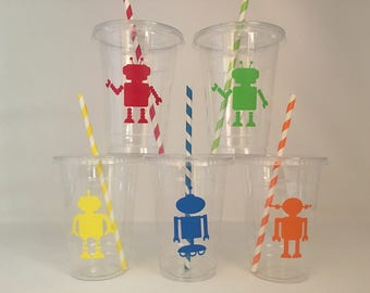 Robot party cups, Robot Birthday Party Cups, Robot Baby shower Cups, Robot Party Favors