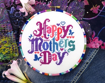 Happy Mothers Day Cross Stitch Pattern, Mothers Day Gifts, Cross Stitch Mom, Mothers Kreuzstitch, Mothers Day Pattern, Mom Cross Stitch