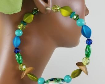 Peacock 4.5 inch beaded hoop threader statement earrings basketball wives 857