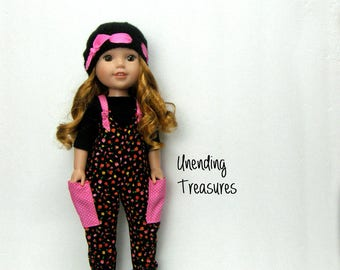 14 inch doll clothes made to fit like wellie wishers doll clothes black and pink overalls black top and hand knitted hat