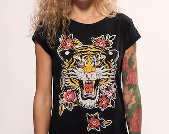 Tiger with Flowers Black Women T-shirt part of Snake Legend Clothing. Unique design hand-drawn by Smokov Tattoo. 100% soft Cotton