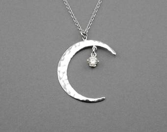 Celestial Moon Stars Necklace - 925 sterling silver moon jewelry, celestial jewelry, moon necklace