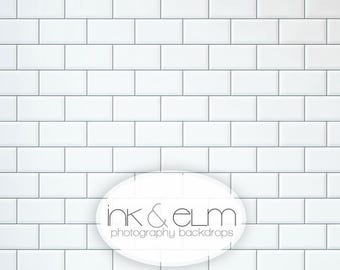"Photography Backdrop 3ft x 3ft, Subway Tile Backdrop, White tile backsplash backdrop, Food photography background backdrop, ""Subway Tile"""