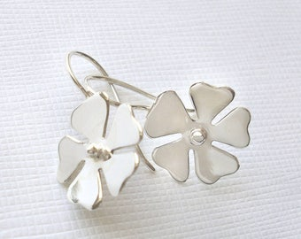 Sterling Silver Blossom Flower Earrings