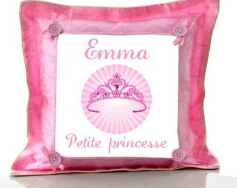Cushion pink little Princess personalized with name
