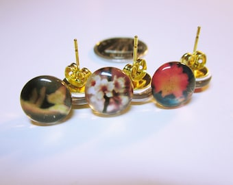 EARRING SET Tiny Earring Studs Micro Mini Stud Earrings Set Of Three Studs With Flowers And Butterfly JEWELRY