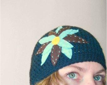 Crochet Hat with Felt Flower in Navy Blue - winter crochet hats for women - crochet hats for baby girls